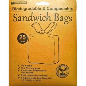 Eco-friendly biodegradable sandwich bags to reduce waste and keep food products fresh. Sold in packs of 25