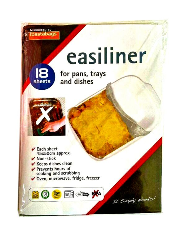 Toastabag Easiliner Liner for pans, trays, dishes and kitchens. The sheets come in approx 45 x 50cm and offer non-stick baking support, keeping trays clean