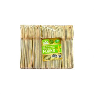 100 biodegradable bamboo cutlery set for zero waste and eco-friendly picnics, kitchens, school lunches and road trips.