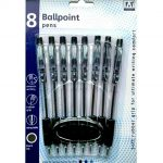 Buy a multipack of black Retractable Ballpoint Pens with this 8 Pack of sturdy writing supplies and stationary online