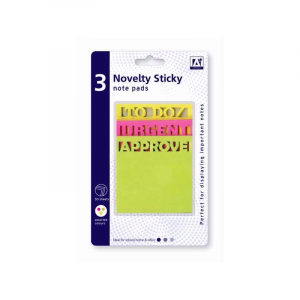 """Novelty sticky notes multi-buy, 3 piece set comes in three colours. Green says """"Approved"""", Pink says """"Urgent"""" and Yellow says """"To Doz"""" perfect for study notes"""