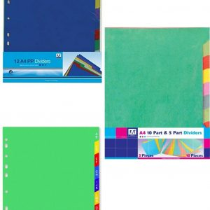 Colourful A4 dividers sold in sets of 10, 12 and 15, you can add colour to your ring binder while staying organised. Perfect for any binder or folder at school or office