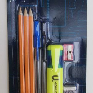 Back To School And Office Essentials Pen, Pencils, Rubber, Highlighter Set,