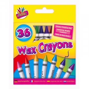 This 36 pack of rainbow coloured wax crayons is the perfect item for you. With the rainbow at your fingertips any creative project.