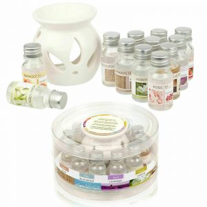Ceramic Oil Burner Gift Set perfect for Aromatherapy With 12 Fragrances and essential Oils. Perfect Christmas gift or ideal for meditation and creating ambience