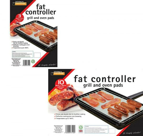 Toastabags Planit Fat Controller GR3 Pack of 3 & 10 35*20 cm grill/oven pads. Reduce fat with these grill and oven pads that absorb fat for mess free cooking