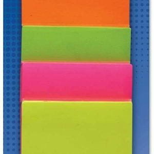 Four piece multi-buy sticky notes. Sold in yellow, orange, pink and green these self adhesive pieces of paper are perfect for your school desk or office notes.